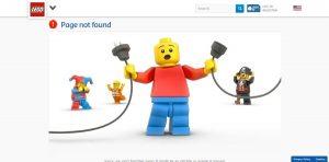 דף שגיאה 404 של LEGO