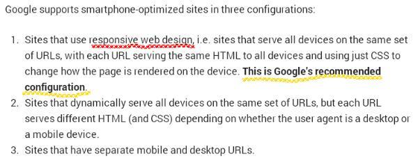 גוגל ממליצה על סוג אתר מובייל