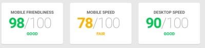 תוצאות בדיקת מהירות אתר גוגל