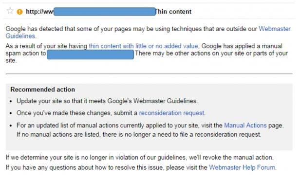גוגל מזהירים את בעלי האתר על המצאות קישורים לא טבעיים