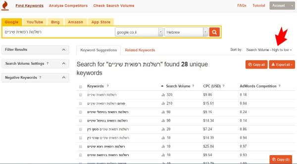 תוצאות של Keywordtool.io