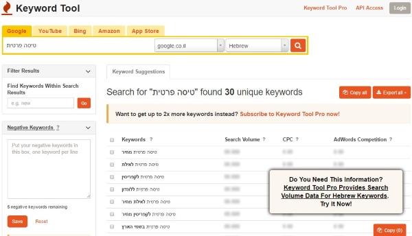 Keywordtool בגירסת חינם