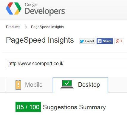 בדיקת מהירות גוגל