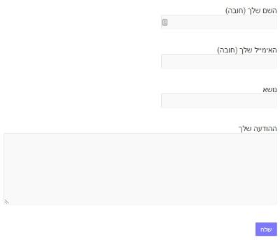 תוסף Contact Form 7 מראה ברירת מחדל