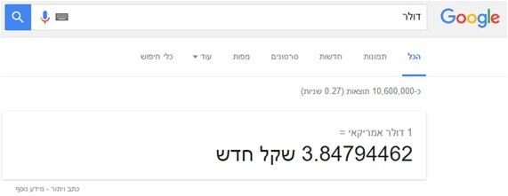 גוגל מציג את שער הדולר