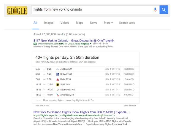 תשובה לשאילתה בתוצאות החיפוש של גוגל על טיסות בין ניו יורק לאורלנדו