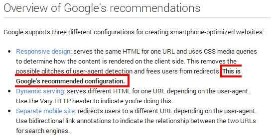 המלצה של גוגל לסוג אתר מובייל