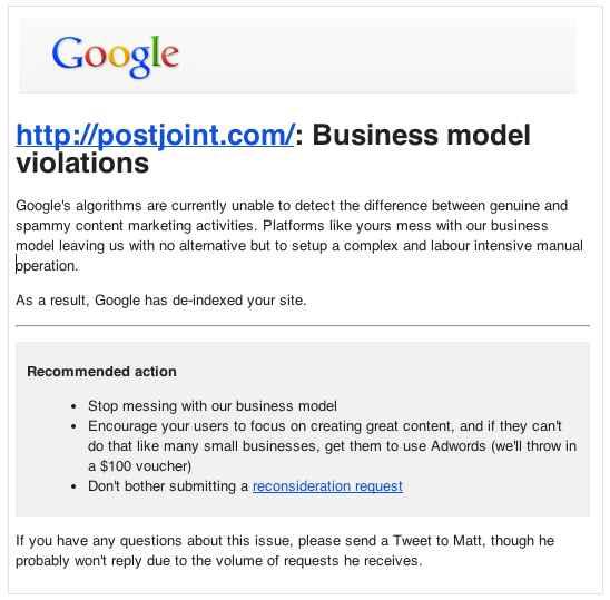 גוגל מענישים את אתר PostJoint