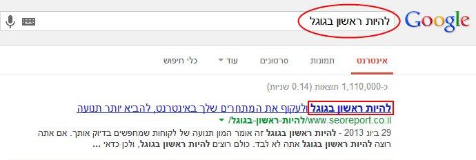 גוגל מדגיש את מילות המפתח שחיפש המשתמש בכותרת הדף